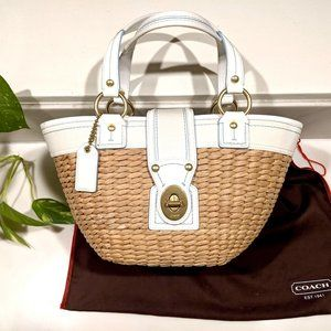 Coach Straw/White Leather Bucket Bag #M0668-10728
